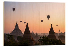 Stampa su legno  Balloons and temples, Bagan - Matteo Colombo