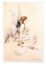 Poster Premium  The fairies brought her a pretty pair of wings - Warwick Goble