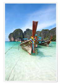 Poster Premium Decorated wooden boats, Thailand