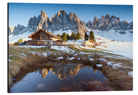 Stampa su alluminio  Hut and Odle mountains, Dolomites - Matteo Colombo