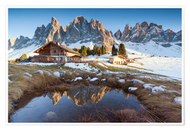 Poster  Hut and Odle mountains, Dolomites - Matteo Colombo