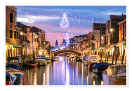 Poster Premium  Canal in Venice at Christmas - Matteo Colombo