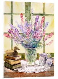 Stampa su vetro acrilico  Lupins on Windowsill - Julia Rowntree