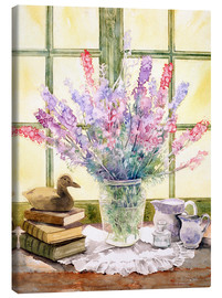 Stampa su tela  Lupins on Windowsill - Julia Rowntree