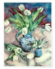 Poster Premium  Tulips and Snowdrops - Julia Rowntree
