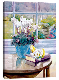 Stampa su tela  Flowers and Book on Table - Julia Rowntree