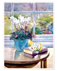 Poster Premium  Flowers and Book on Table - Julia Rowntree