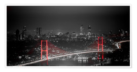Poster  Bosporus-Bridge at night - color key red (Istanbul / Turkey) - gn fotografie