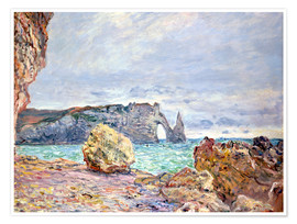 Poster Premium  Etretat, beach and Falaise d'Aval - Claude Monet