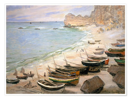 Poster Premium  Boats on the beach at Etretat - Claude Monet