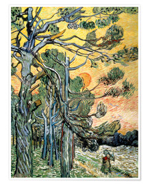 Poster Premium Pines with Setting Sun and Woman