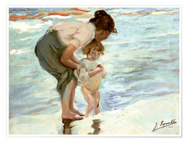 Poster Premium Mother and child on the beach