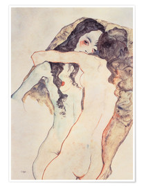 Poster  Two women in embrace - Egon Schiele