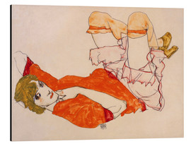 Stampa su alluminio  Wally in a red blouse with knees lifted up - Egon Schiele