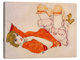 Stampa su tela  Wally in a red blouse with knees lifted up - Egon Schiele