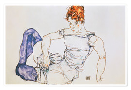 Poster Seated Woman with violet stockings