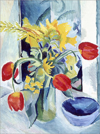 Stampa su alluminio  Still life with tulips - August Macke
