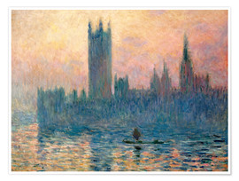 Poster  Parliament in London at sunset - Claude Monet