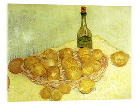 Stampa su vetro acrilico  Still life with bottle, lemons and oranges - Vincent van Gogh