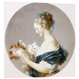 Stampa su PVC  Girl with a dog and a cat - Jean-Honoré Fragonard