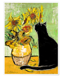 Poster Premium  The cat of Van Gogh - JIEL