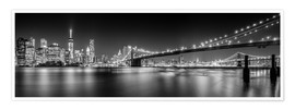Poster Premium New York and Brooklyn Bridge (monochrome)