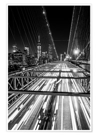 Poster Premium  Traffic on Brooklyn Bridge - NYC (monochrome) - Sascha Kilmer