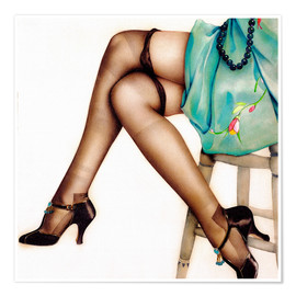 Poster Premium  Black Stockings - Alberto Vargas