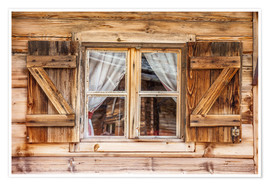 Poster Premium  Window of alps cabin in South Tyrol (Italy) - Christian Müringer