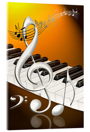 Stampa su vetro acrilico  dancing notes with clef and piano keyboard - Kalle60