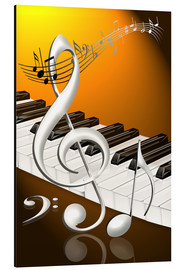 Stampa su alluminio  dancing notes with clef and piano keyboard - Kalle60