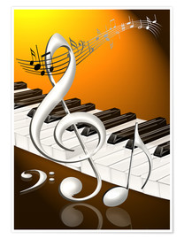 Kalle60 - dancing notes with clef and piano keyboard