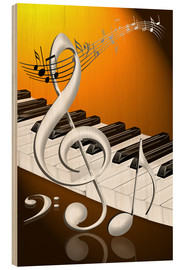 Stampa su legno  dancing notes with clef and piano keyboard - Kalle60