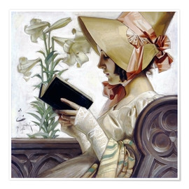 Poster Premium Lady with a book