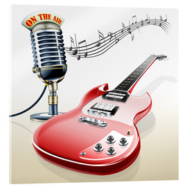 Stampa su vetro acrilico  Electric guitar with microphone and music notes - Kalle60