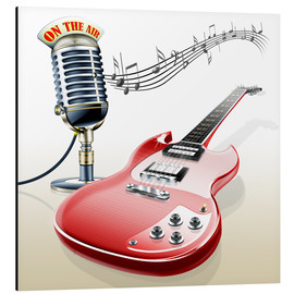 Stampa su alluminio  Electric guitar with microphone and music notes - Kalle60