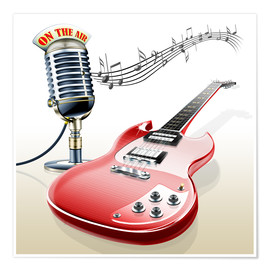 Poster Premium  Electric guitar with microphone and music notes - Kalle60