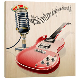 Stampa su legno  Electric guitar with microphone and music notes - Kalle60