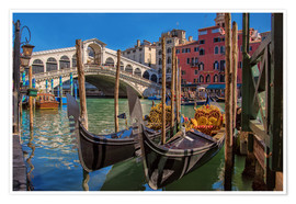 Poster Premium Venice Gondola at Rialto bridge