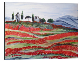 Stampa su alluminio  Flowering/Blooming Tuscany (Val d'Orcia, Chapel of Vitaleta) - Christine Huwer