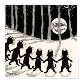 Poster  Cats at full moon - Louis Wain