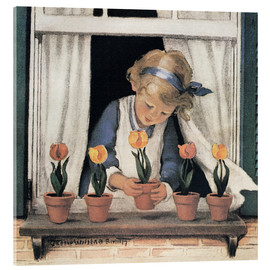 Stampa su vetro acrilico  Potting tulips - Jessie Willcox Smith
