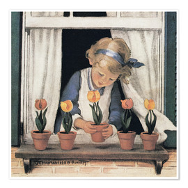 Poster Premium  Potting tulips - Jessie Willcox Smith