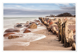 Poster Premium Groyne and stones on shore of the Baltic Sea