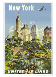 Poster Premium  New York United Airlines - Travel Collection