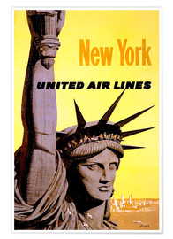 Poster Premium  New York United Air Lines - Travel Collection