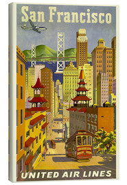 Stampa su tela  San Francisco, United Airlines - Travel Collection