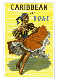 Poster Premium  Caribbean Fly BOAC - Travel Collection