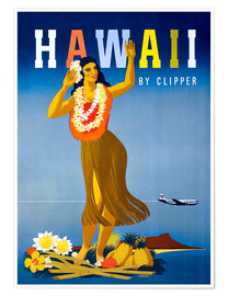 Poster Premium  Hawaii by Clipper vintage travel - Travel Collection
