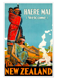 Poster Premium  Haere Mai welcome to New Zealand - Travel Collection
